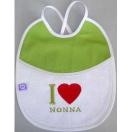 "Bavetta con frase ricamata ""I Love Nonna"""