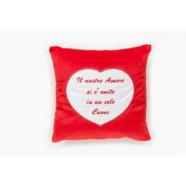 """Cuscino con tasca cuore """"Il nostro amore…"""""""