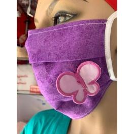 Mascherina lavabile con laccetti annodabili e farfalla 3D