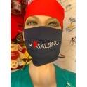 Mascherina lavabile con laccetti annodabili e ricamo I Love Salerno